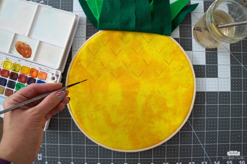 Pineapple Embroidery Hoop Art - Step 3