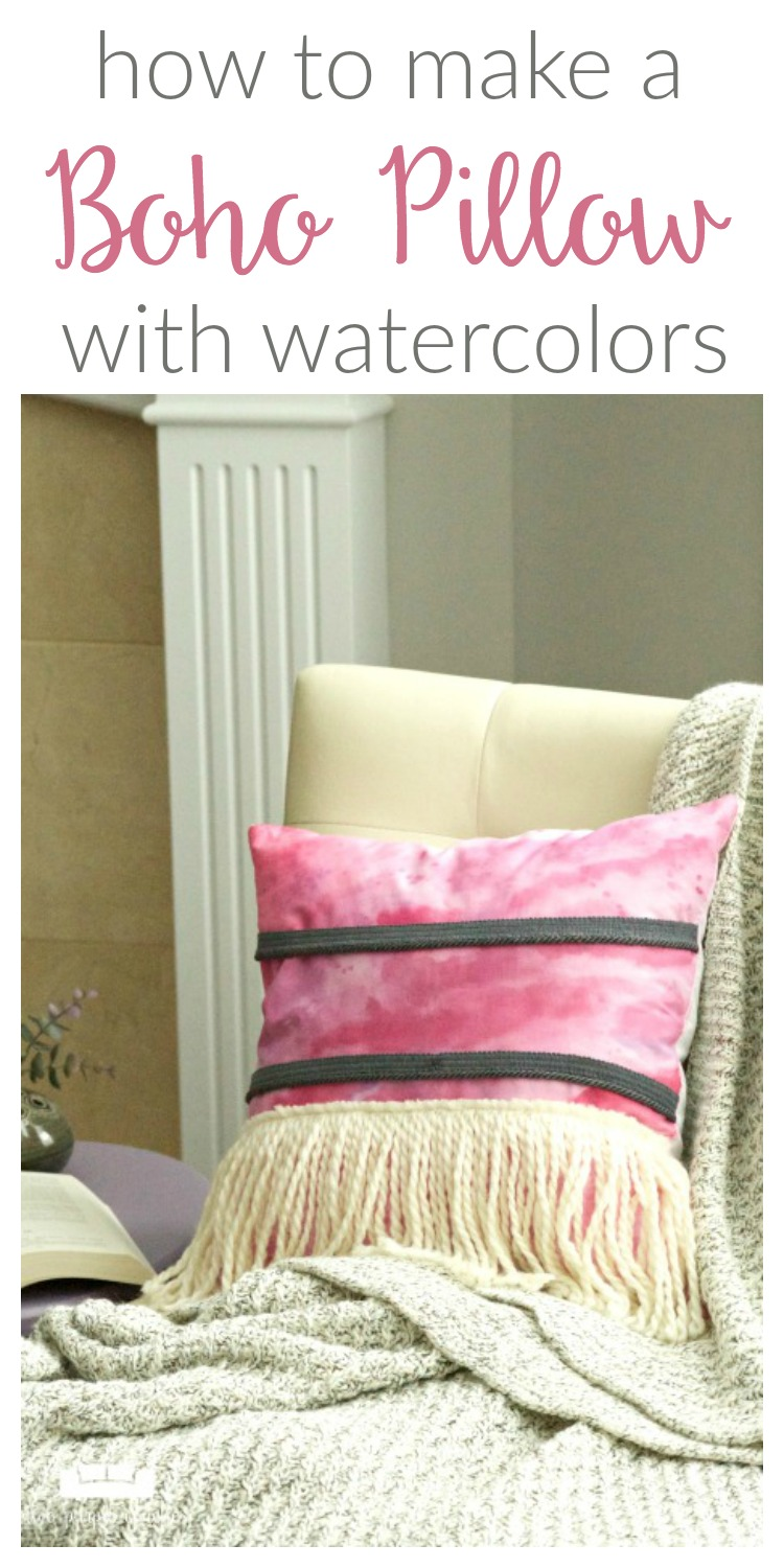 Watercolor Boho Pillow with Fringe - two purple couches