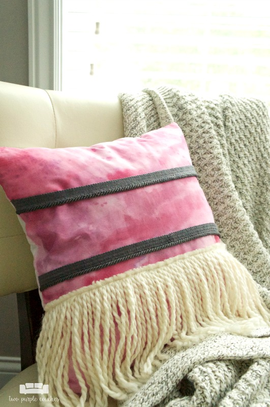 DIY Watercolor Boho Pillow with Fringe.