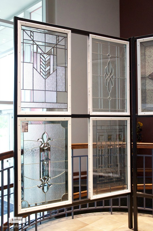 Shopping for a new front door? Head to your local showroom to browse options, like decorative glass inserts, in person.