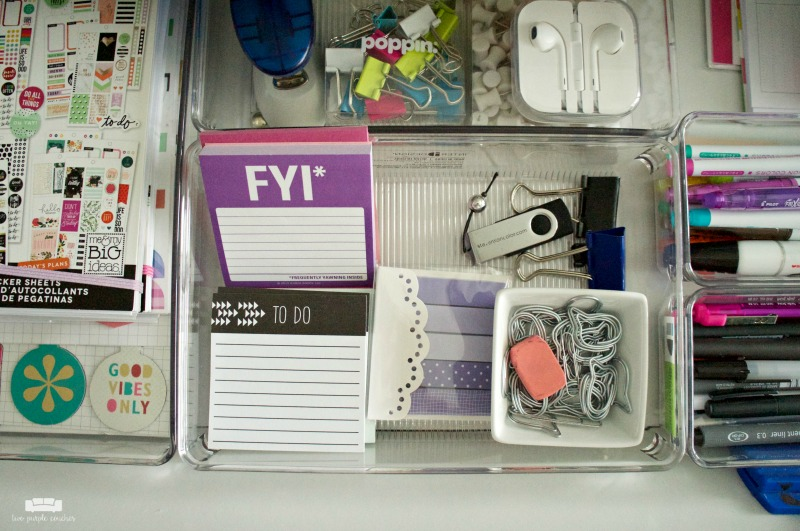 Home Office Design - clear acrylic drawer organizers keep your desk tidy