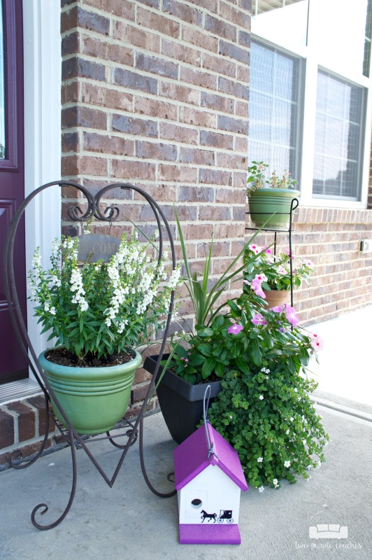 Summer porch decor - group planters for enhanced curb appeal