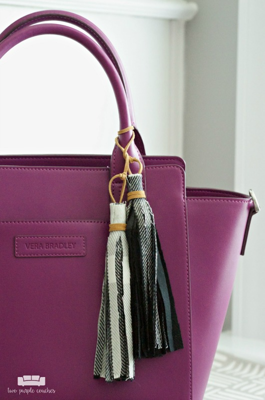 Add a dash of style to your favorite handbag with a DIY fabric tassel charm.