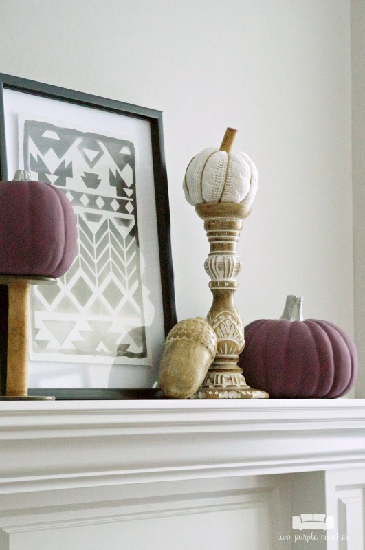 Fall mantel decorations - pumpkins, candlesticks, wood accents