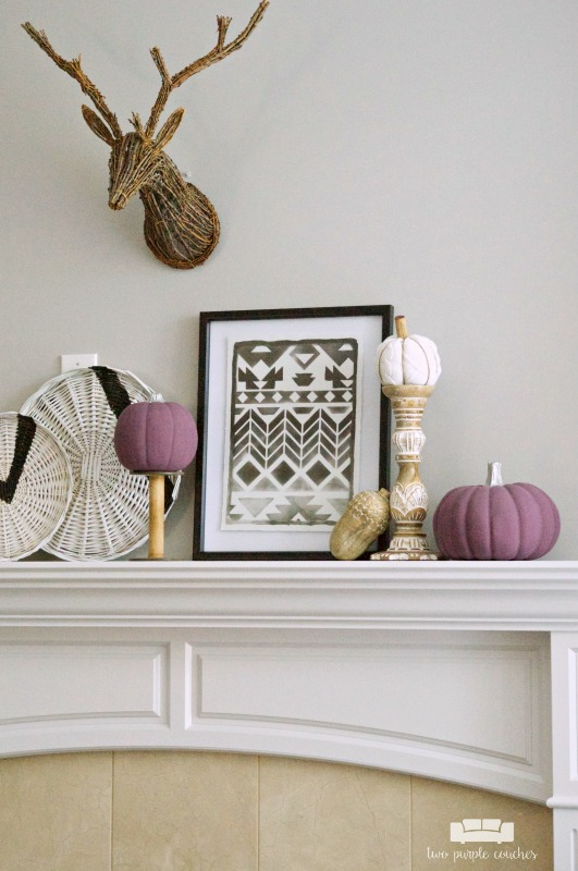 Fall mantel decor ideas - modern, tribal inspired ideas for Fall home decor