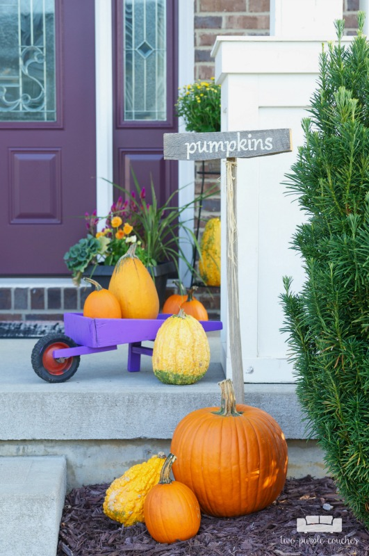 Create your own pumpkin patch! Group pumpkins and gourds on your porch for easy fall decorating.