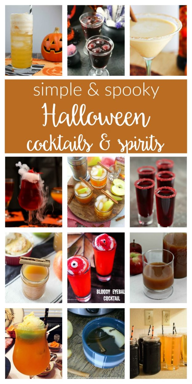 Spooky Halloween cocktails recipes and simple festive spirits to enjoy after the trick-or-treating is done! Perfect, easy idea for a party or crowd, too!