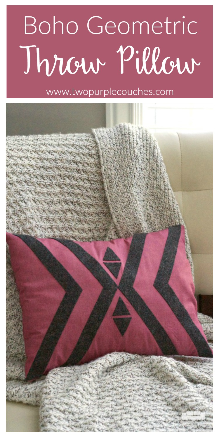 Make your own geometric pillow cover for your couch or bed! Follow this simple DIY tutorial to make a boho tribal style pattern with felt for added texture.