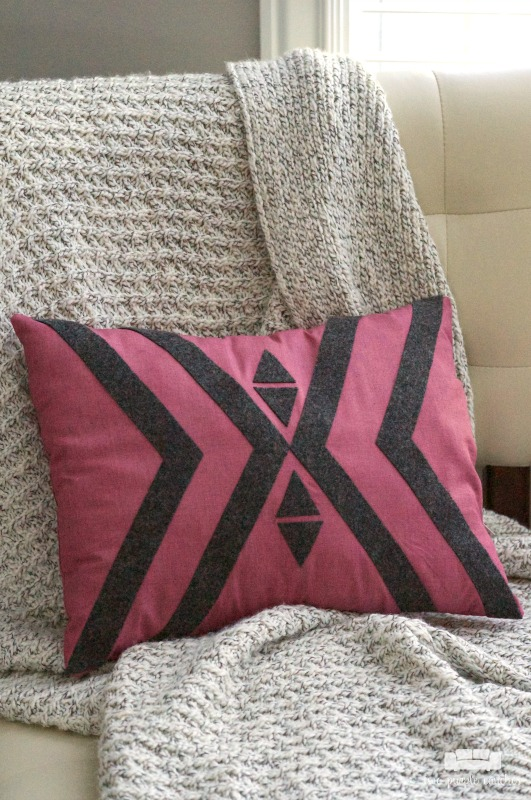 DIY Boho Geometric Pillow - Create with Me - two purple couches
