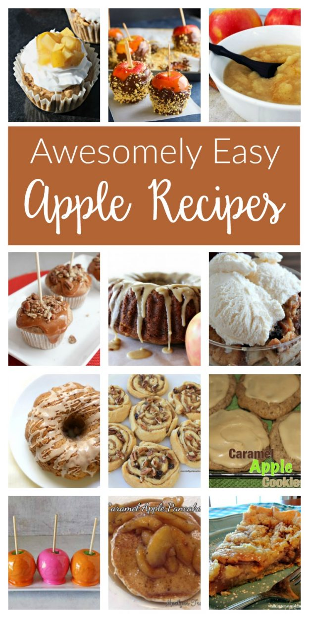 Awesome apple recipes for Fall desserts and baked treats. From caramel apples to deliciously simple apple pie, apple cake and more!