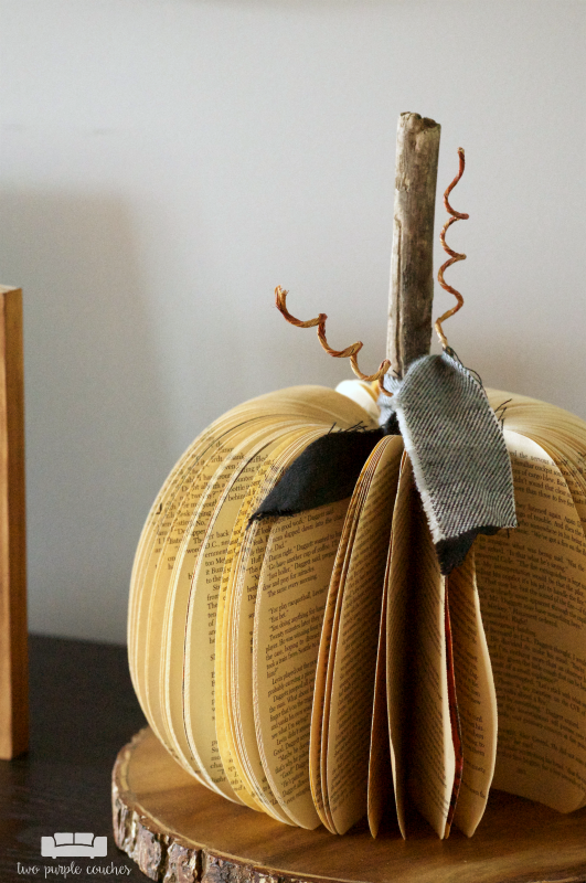 Decorating the entry for Fall - pumpkin made from a book!