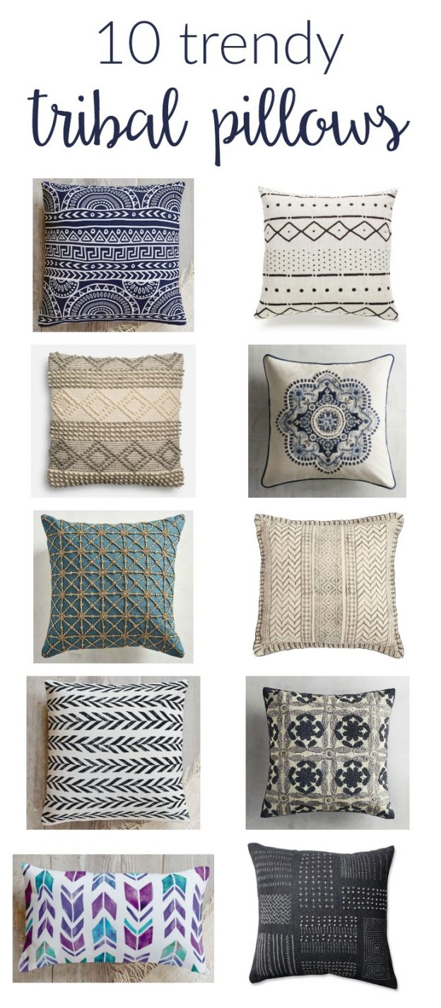 Tribal Throw Pillows - Infuse your home decor with tribal boho style with these trendy throw pillow options. Beautiful modern and textile-inspired patterns.