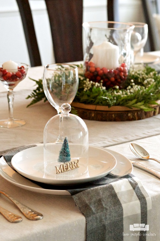 Cute idea for a Christmas table setting - add miniature trees under a dome!
