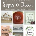 Fall signs and DIY decor ideas. These rustic wooden and painted signs are perfect to display through Thanksgiving. Great for hostess gifts, too!