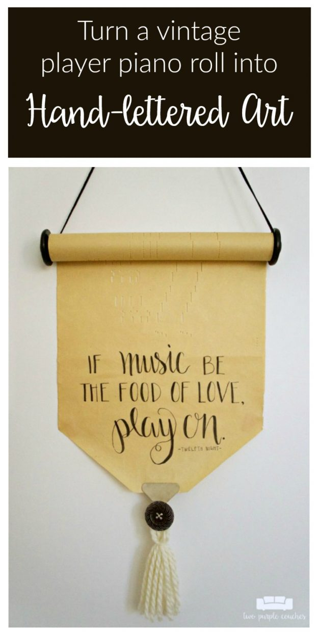 Player Piano Roll Art is a such unique way to display and upcycle a vintage player piano roll! Add a favorite hand-lettered phrase to make it your own.