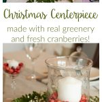 DIY this elegant, easy Christmas centerpiece for your table! All you need are cranberries, greenery, and a simple glass vase and candle.