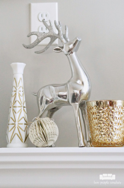 Glam metallic and modern Christmas mantel ideas.