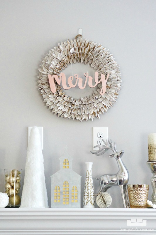 Beautiful holiday wreath idea - add a metallic painted sign!