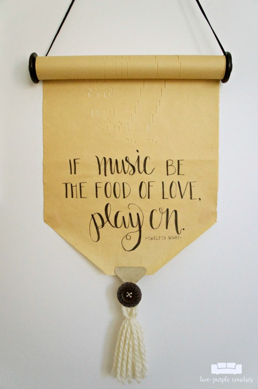 Vintage player piano roll is transformed into pretty lettered wall decor!