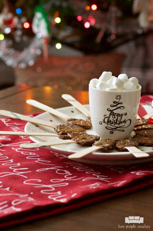 Cute idea for a Christmas or holiday party - set out chocolate covered coffee spoons. These salted caramel ones sound amazing!