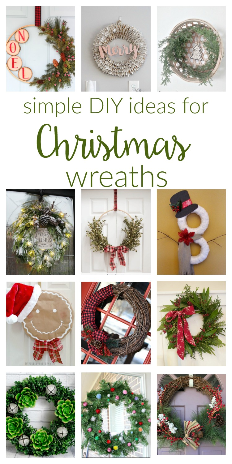 Simple Christmas Wreaths to make for your home. Check out these easy ideas, from rustic, farmhouse style to fresh elegant evergreens.