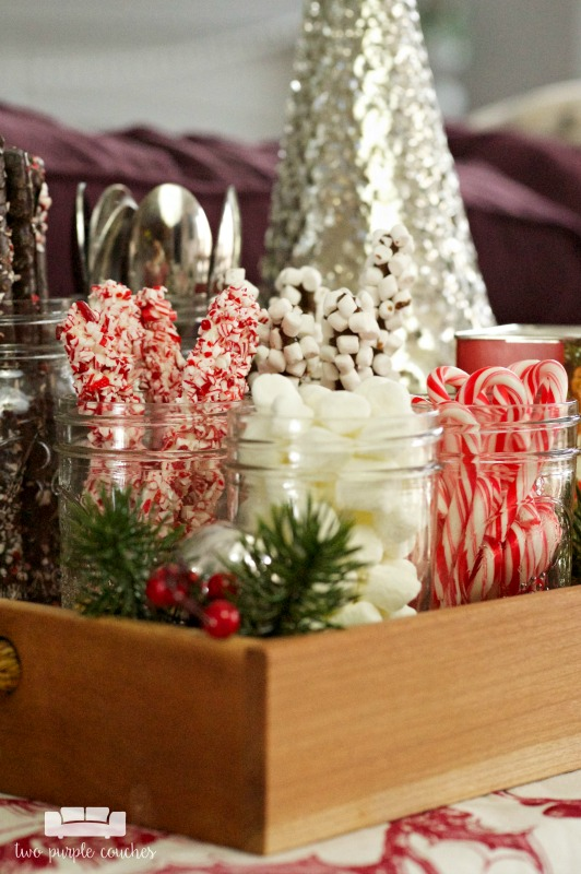 Cozy hot cocoa bar with all the trimmings! Candy canes, marshmallows & stirrer sticks!