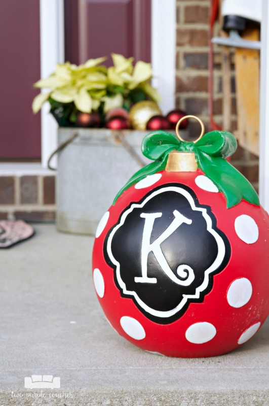 Add a festive monogrammed ornament to your holiday porch!