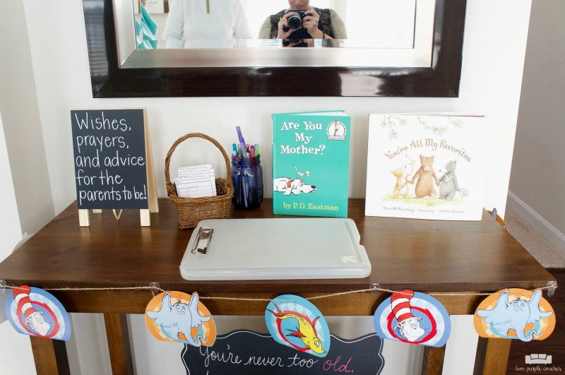 Cute baby shower station for guests to leave advice for the parents-to-be