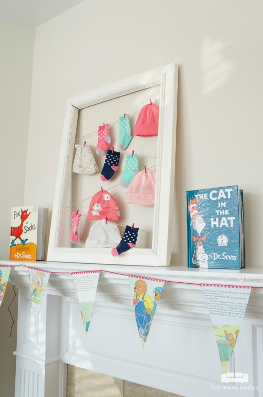 "Love this hats and socks ""laundry line"" pun for a book themed baby shower!"