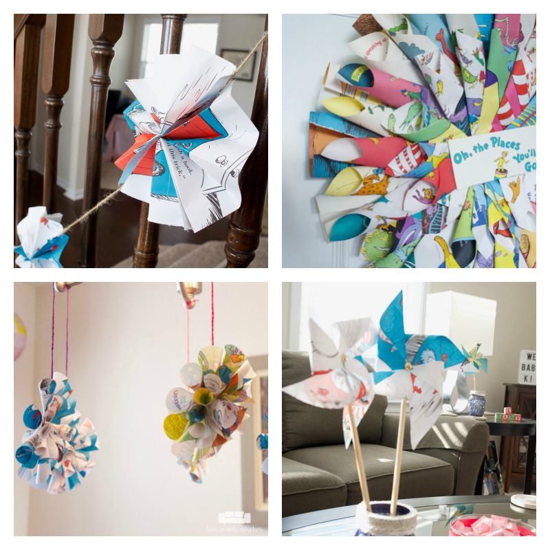 So many cute book page decorations for a book themed baby shower!