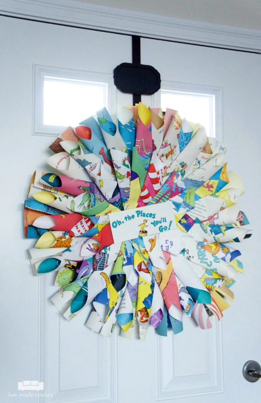 Omg! Love this amazing Dr. Seuss Book Page wreath! Perfect decoration for a book themed baby shower!