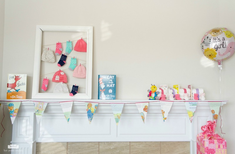 Cute mantel decorations for a baby shower