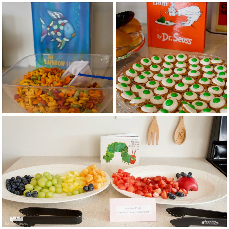 Love this food spread from my book themed baby shower!