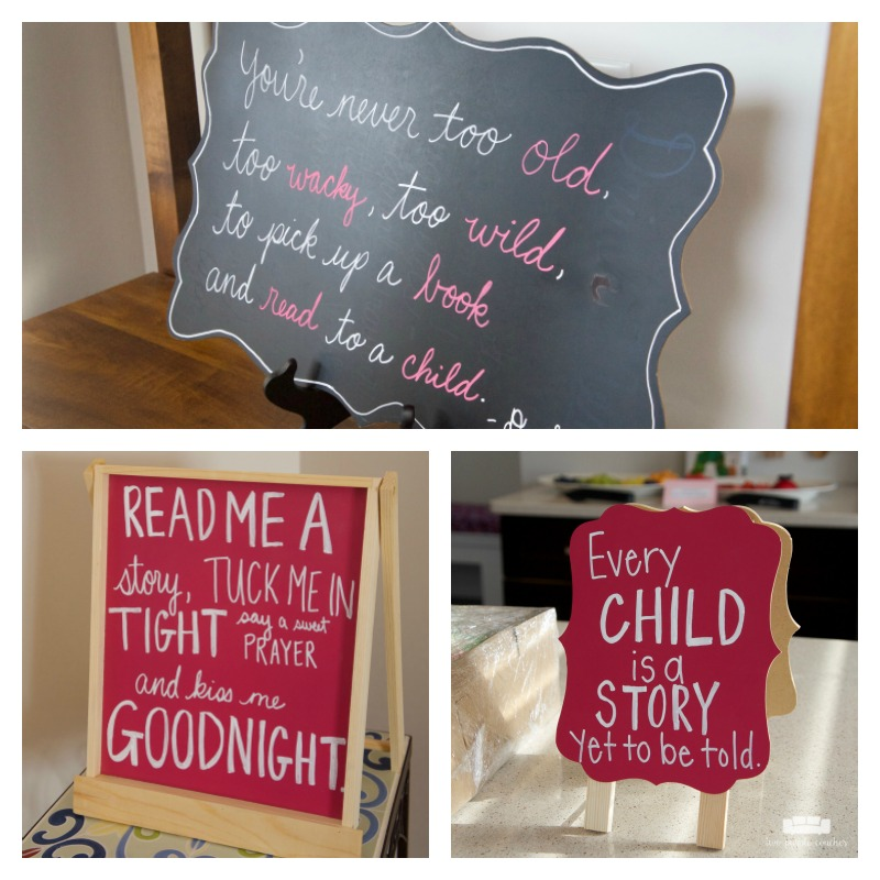Sweet chalkboard signs for a book themed baby shower.