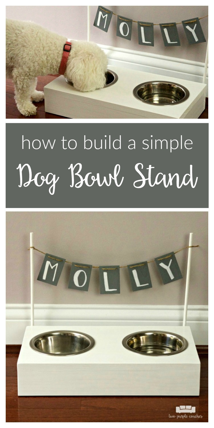 Build your own dog bowl stand! Follow this easy DIY to create a raised wooden stand to hold your dog's food and water bowls. Perfectly sized for a small dog!