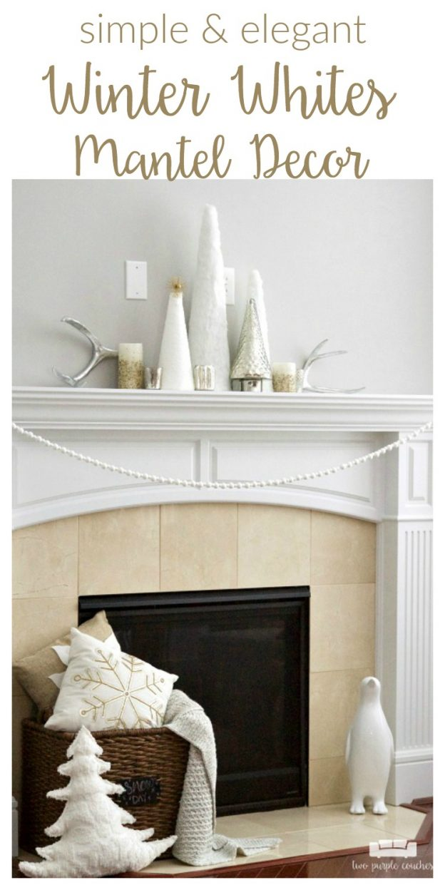 Transition your decor out of holiday mode with an elegant winter white mantel. Simple white trees paired with mercury glass create this beautiful style.