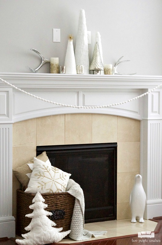 "Simple & elegant ideas for a ""winter whites"" mantel"