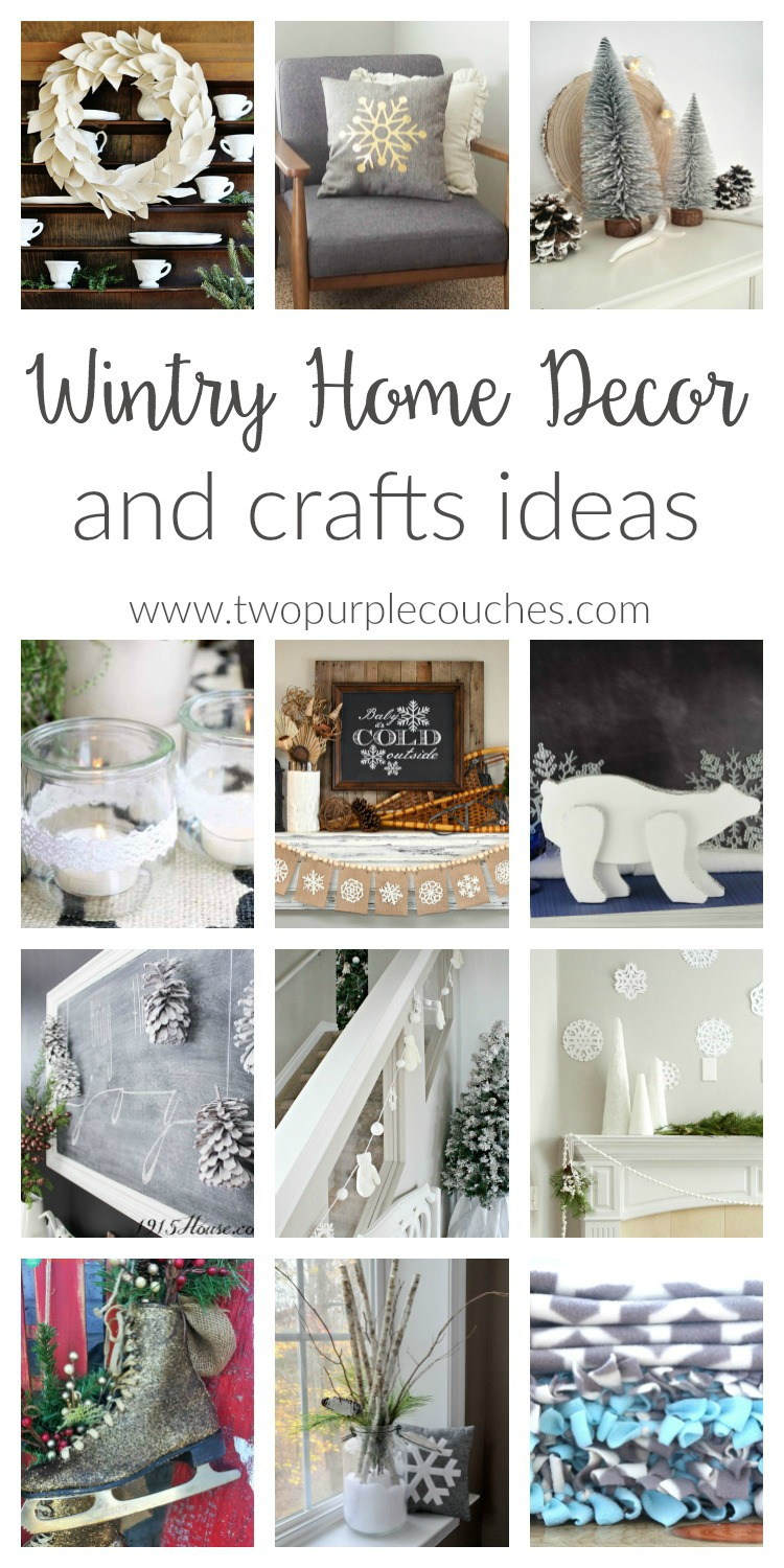 Wintry Home Decor for after Christmas. Transition from holiday to winter with these simple DIY decorating and crafts ideas feature snow and pinecones.