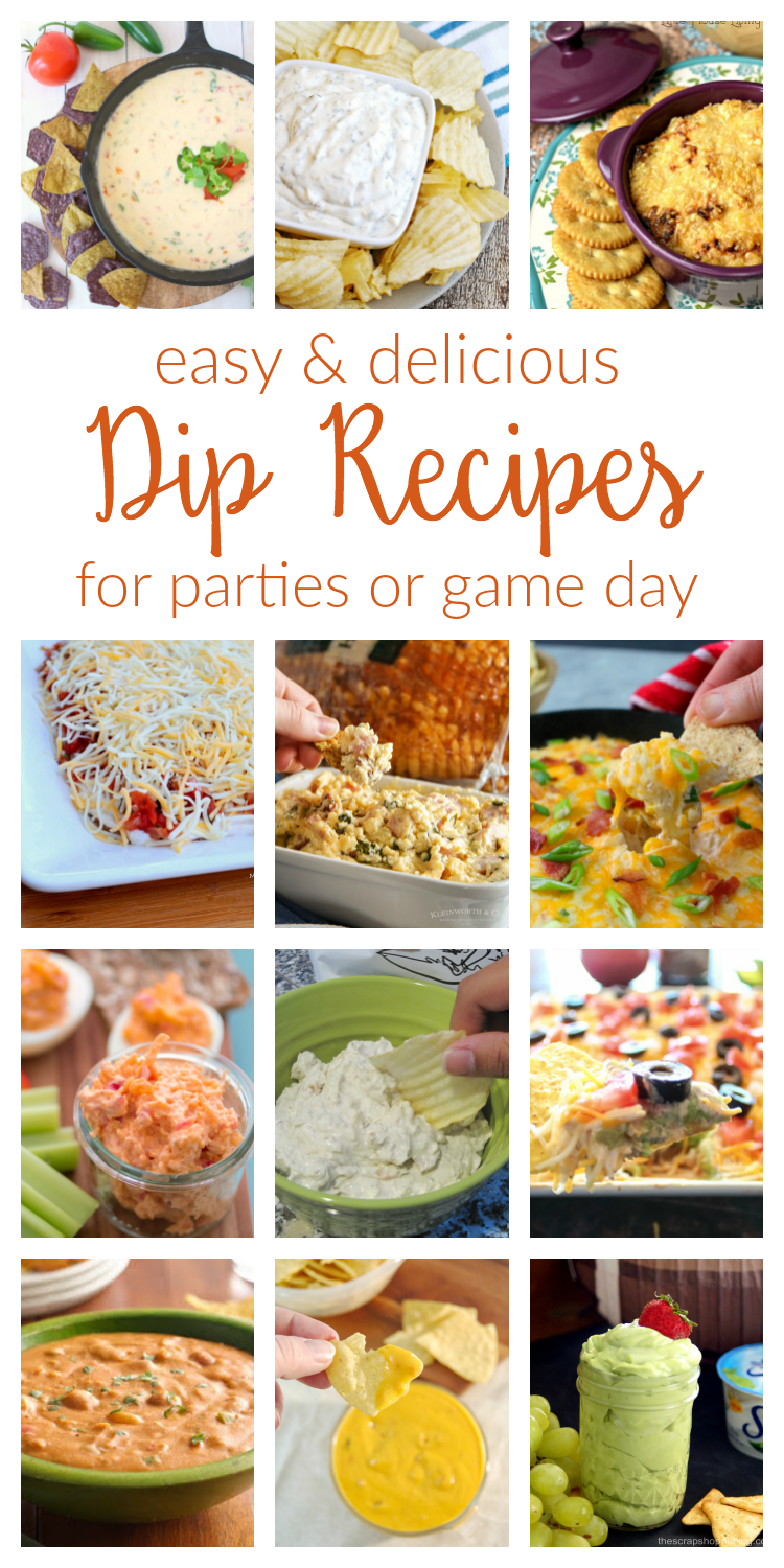 Delicious dip recipes, perfect for a party or game day. Whether you like hot or cold dips, these easy recipes will be a crowd-pleaser!