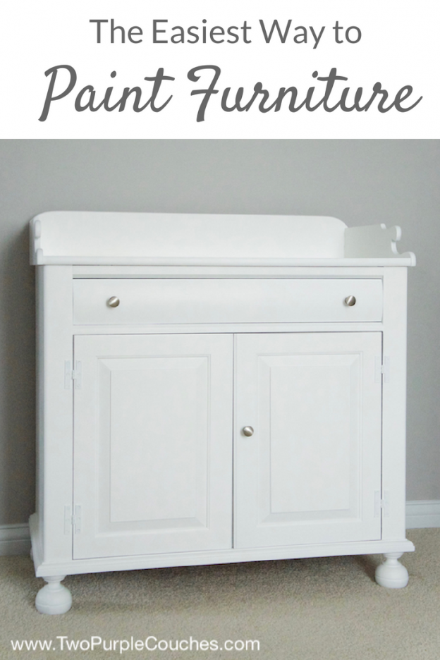 "How to paint furniture with a paint sprayer—an easy DIY way to repurpose old pieces. The quickest way to get that ""before and after"" look"