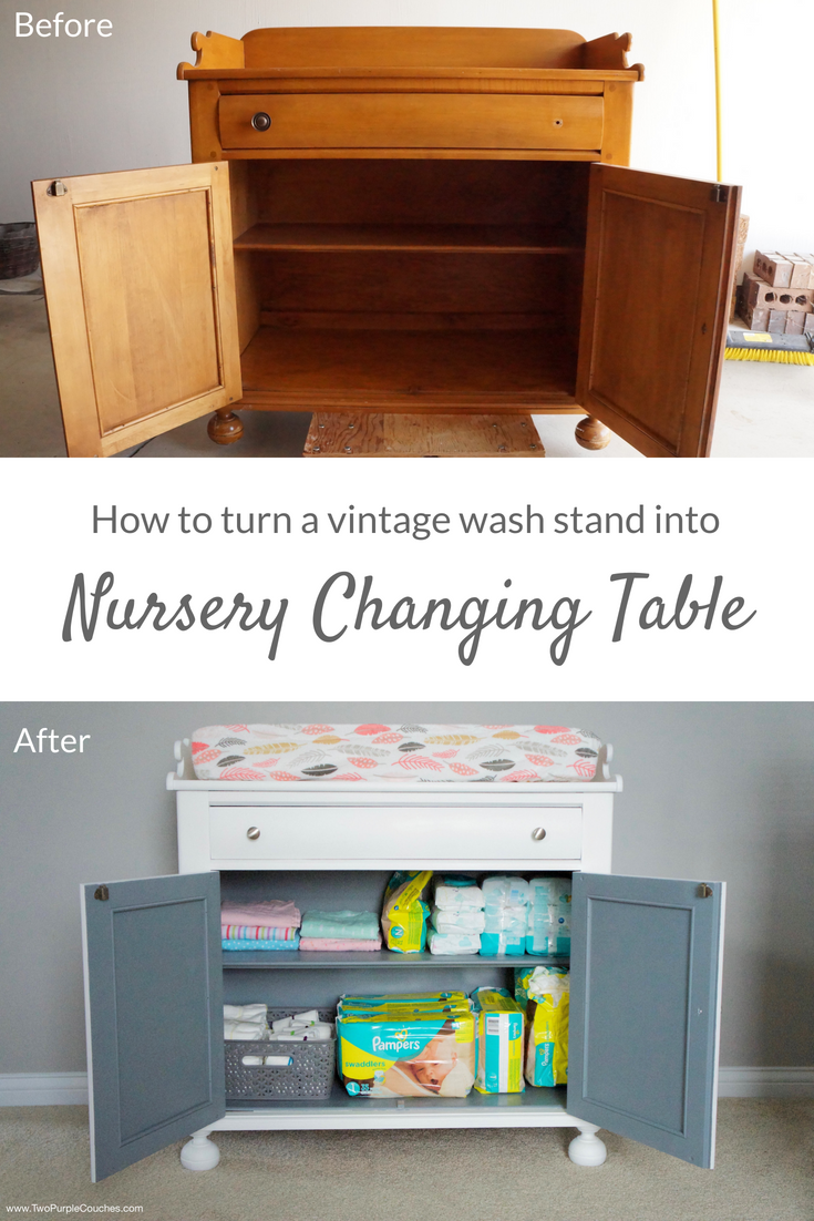Furniture makeover you can DIY - How to repurpose and upcycle a vintage wash stand to create a unique changing table with storage for a nursery.