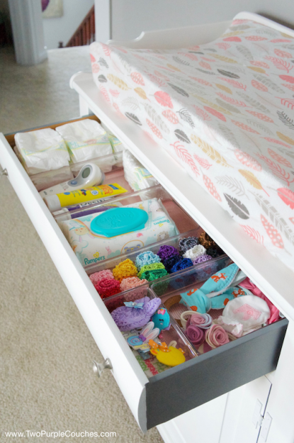 Repurpose a vintage piece of furniture into a cute & functional changing table for your nursery.