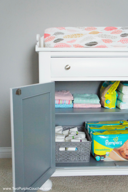 DIY Furniture Makeover - update an old cabinet with paint and turn it into a changing table!