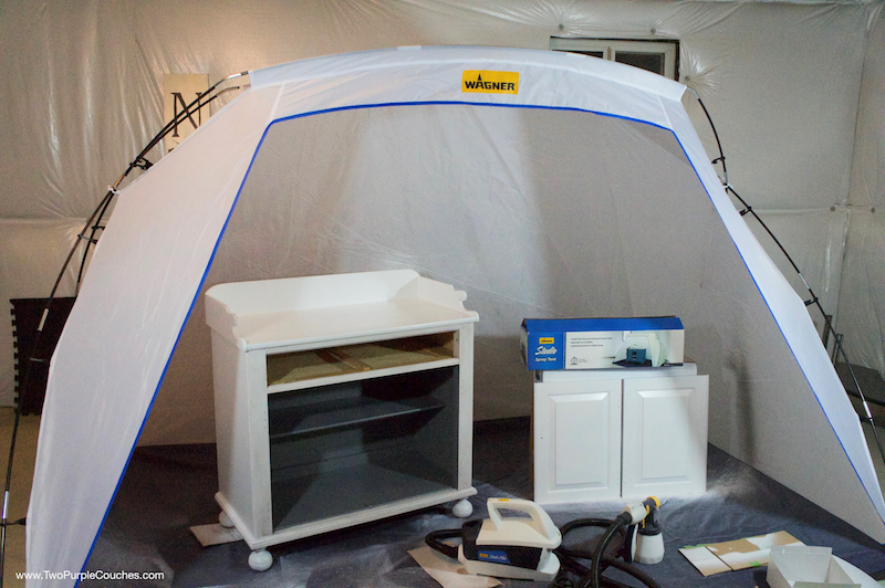 Paint furniture inside a spray tent for less mess!