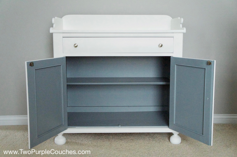Unique DIY painted furniture - two-toned changing table for a nursery