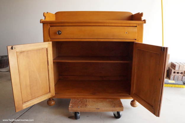 vintage wash stand cabinet BEFORE