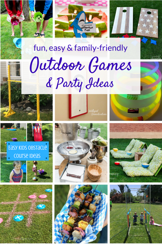 Outdoor games and party ideas the whole family will enjoy this summer! These easy DIY games and parties are fun for kids and adults alike.