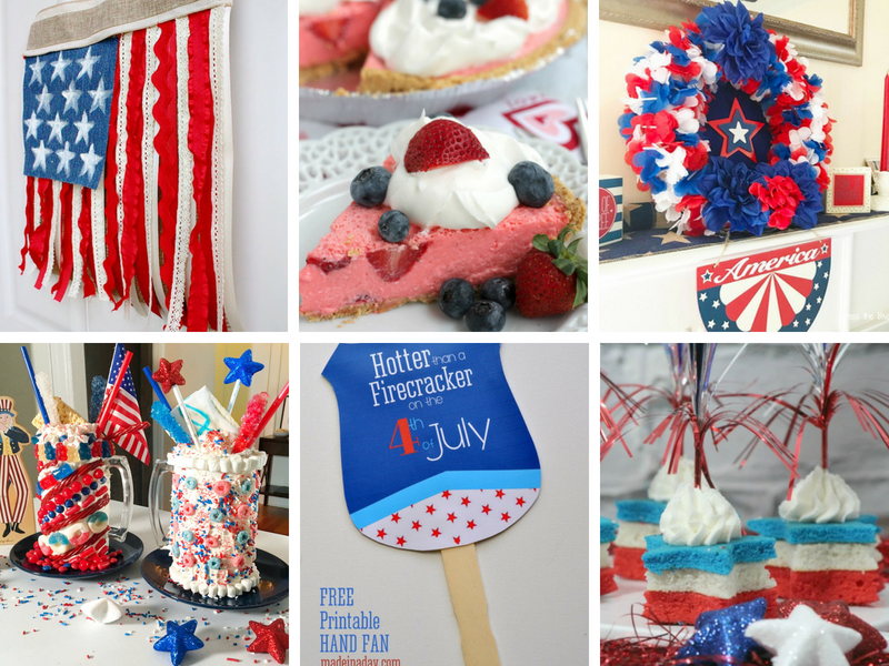 Patriotic Crafts and red white and blue decorations for 4th of July parties