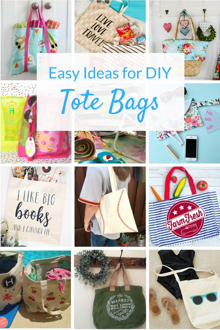 DIY tote bag ideas you'll love! Check out these tutorials for easy canvas totes you can personalize with paint, vinyl and more! Perfect for summertime!