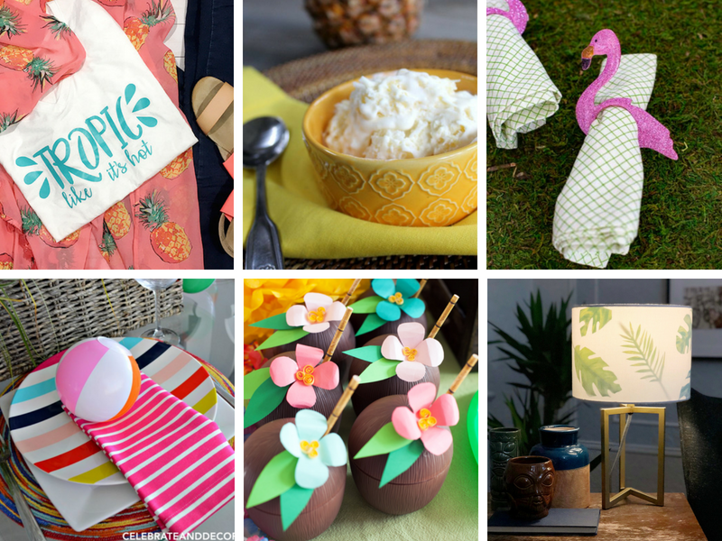 tropical party decorations, tablescapes and treats